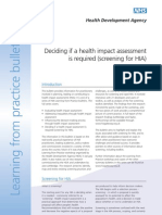 Deciding if a HIA is Required Screening for HIA - HDA England - 2003