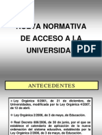 Nueva Normativa de Acceso a La Universidad