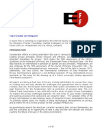 The Future of Privacy IGF workshop report