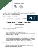 Subjectivité et Sciences Humaines (Exposé au L.E.S.T., Aix-en-Provence)