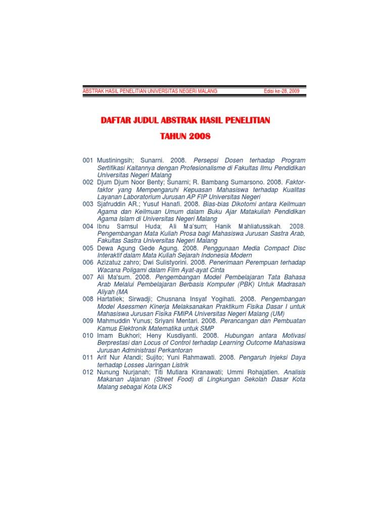 Abstrak Hasil Penelitian Universitas Negeri Malang