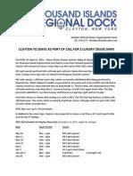 Cruise Ship Press Release