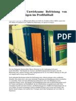 Sportrecht Unwirksame Befristung von Spielerverträgen im Profifußball PRG