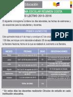 Cronograma Escolar Del Ano Lectivo 2015 2016 Costa