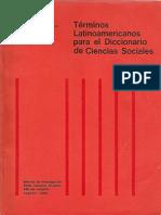 DICCIONARIO Términos Latinoamericanos Para El Diccionario de Cs. Soc.