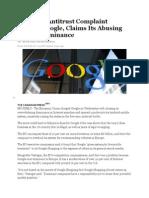 eu filing antitrust complaint against google