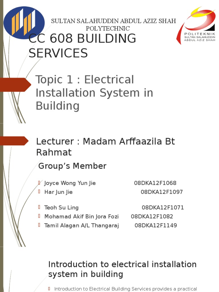 Topic 1 Electrical Installation System in Building | Electrical ...