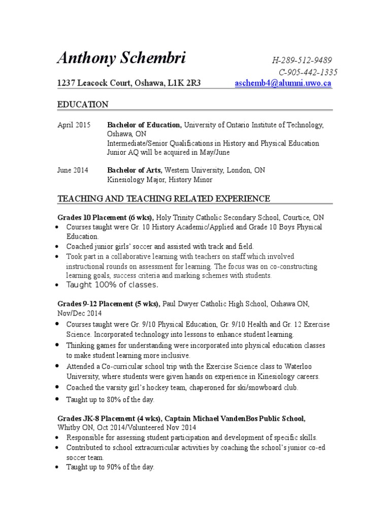 teaching resume  physical education  teachers  free 30