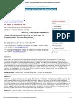 Literatura y lingüística - Tipos y funciones de las citas en artículos de investigación de tres disciplinas