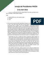 Síntesis Consejo de Presidentes FACEA 14 Abril 2015