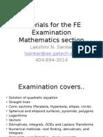 Math Tutorials for the FE Examination