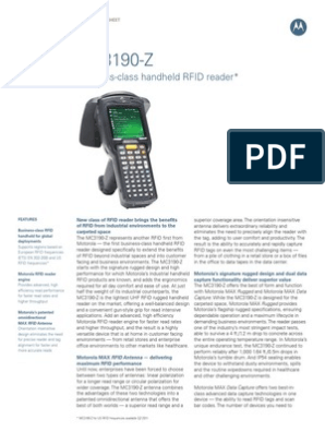 Business-class handheld RFID reader*: Specification Sheet