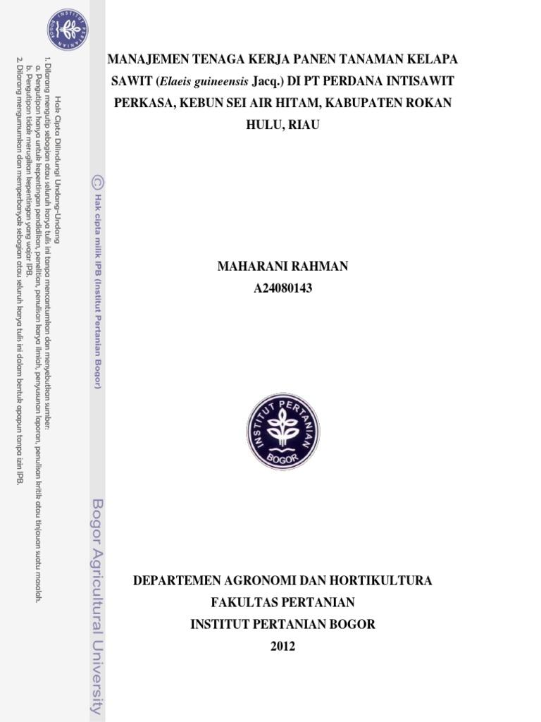 Laporan Panen Kelapa Sawit Pdf