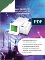 Double Beam UV-VIS Spectrophotometer AU 2701