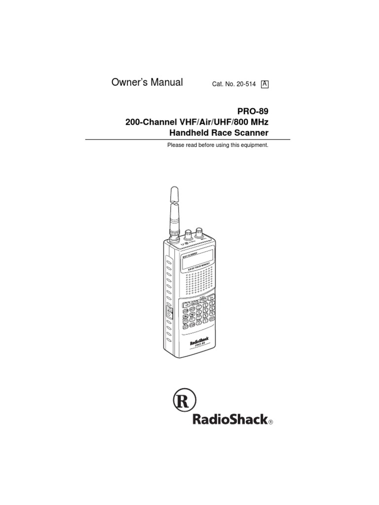 Owner'S Manual: Pro-89 200-Channel Vhf/Air/Uhf/800 Mhz