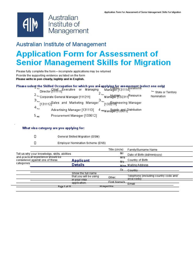 aim assessment senior management skills migration 1