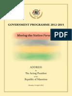 Government Programme 2012 2015 16April2012