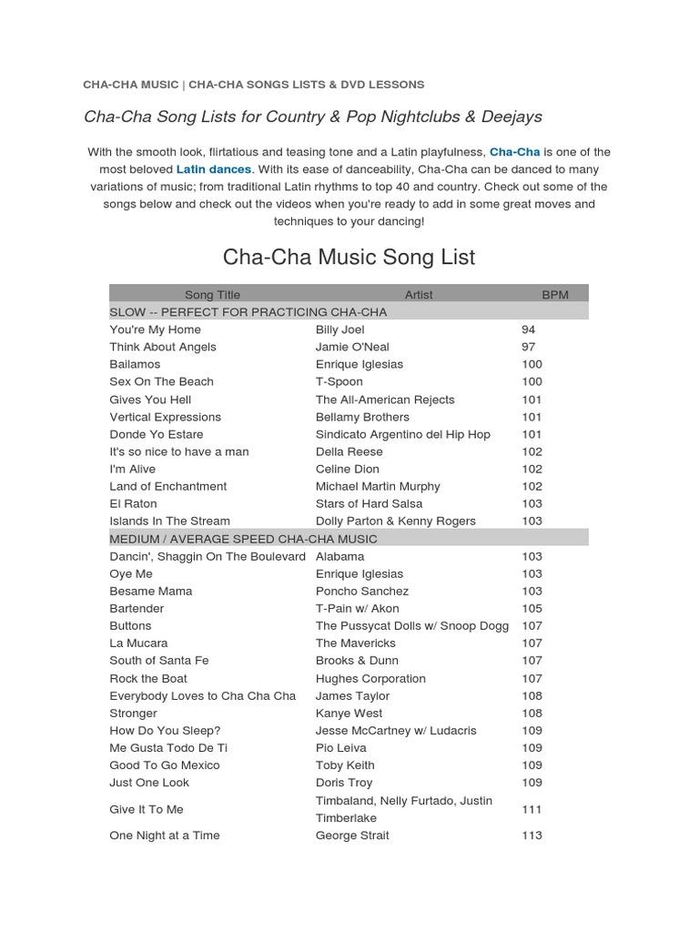 Cha Cha Cha Songs