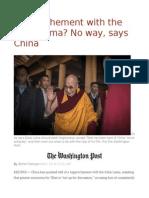 Rapprochement With the Dalai Lama No Way, Says China