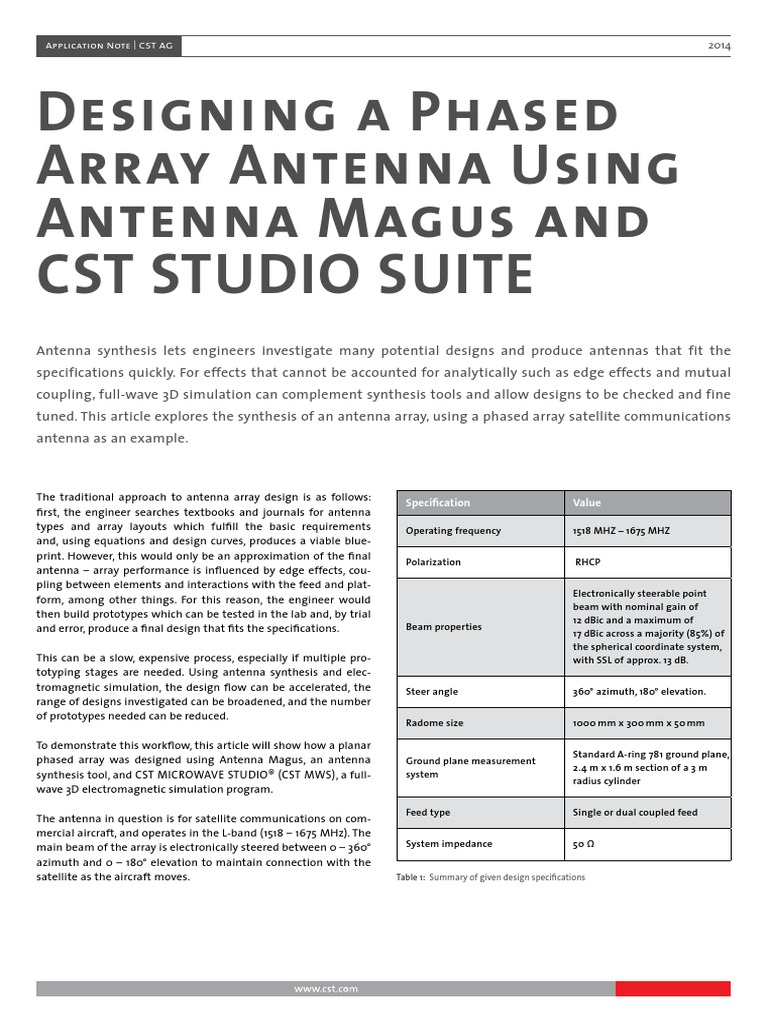 CST Application Note Designing Phased Array Antenna