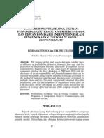 2. Pengaruh Profitabilitas, Ukuran Perusahaan, Leverage, Umur Perusahaan, Dan Dewan Komisaris Independen Dalam Pengungkapan Corporate Social Responsibility(1)