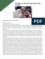 Francisco- Audiencia General 18-2-15 Con Jesús La Hermandad Se Dilata Superando Toda Diferencia
