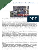 Francisco- Homilía Domingo de Ramos 29-3-15 No Hay Humildad Sin Humillación
