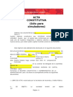 Acta Constitutiva Sólo Para Simuladores Word