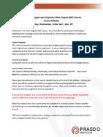 WV Mortgage Law Syllabus M, W, F Renewal 2015 Revised