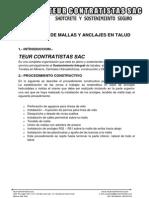 Proceso Constructivo de Mallas - Anclajes Cemento Andino