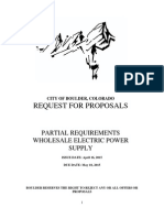 Boulder wholesale power Request For Proposal