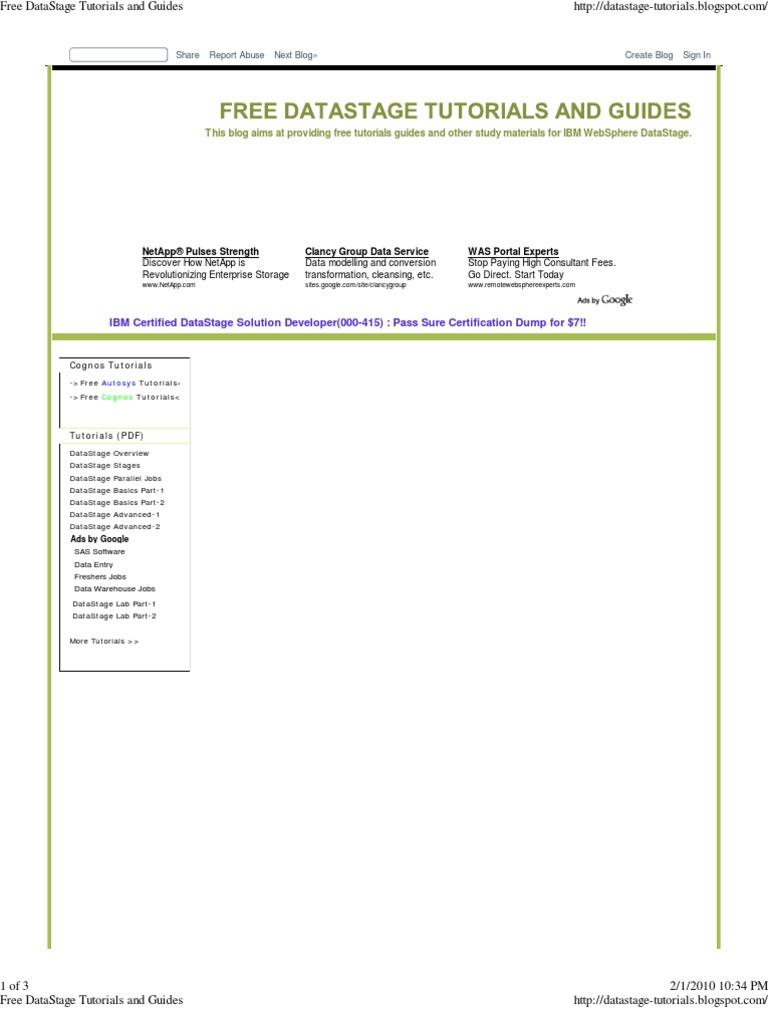 infosphere datastage advanced tutorial pdf