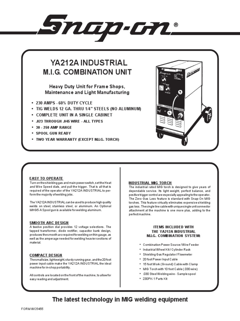 Snap on ya212aind spec sheet welding mechanical engineering greentooth Images