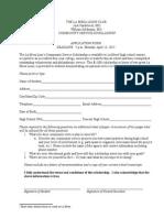 La Mesa Lions Club Application