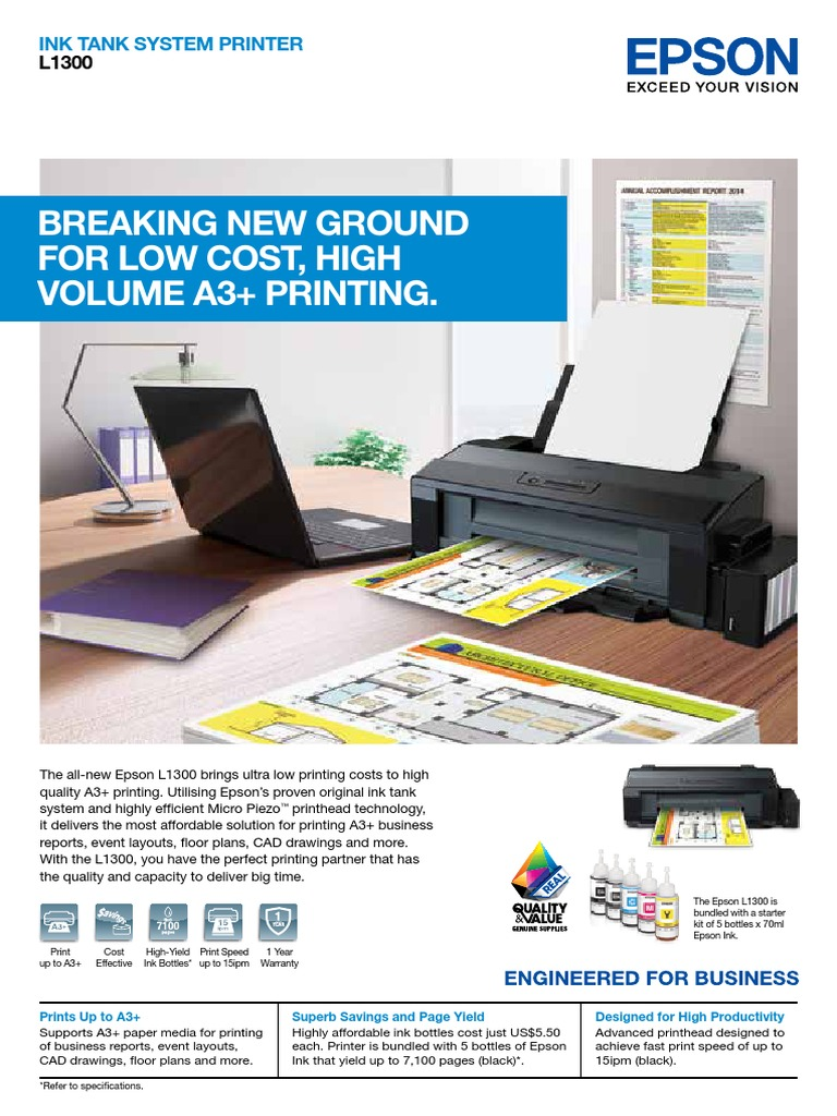 Epson InkTankSystem L1300 | Printer (Computing) | Image Scanner