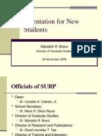 SURP Graduate Programs Orientation-24Nov09