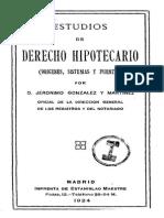 Gonzalez y Martinez Jeronimo Estudios de Derecho Hipotecario