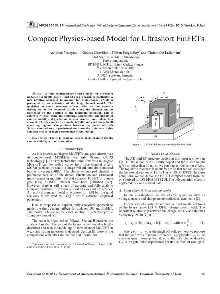 Compact Physics Based Model For Ultrashort FinFETspdf
