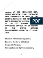 Speech by President Uhuru Kenyatta During the Official Opening of the 25th Session of the Governing Council of UN-Habitat