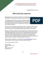 2015 ORBA Scholarship News Release