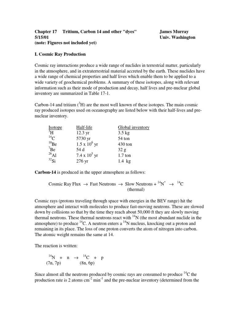 Carbon dating nuclear equation for tritium