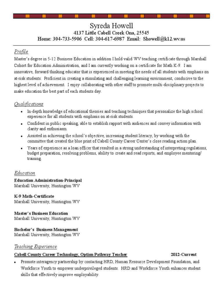 Syreda Howell Resume 1 Mentorship Teachers
