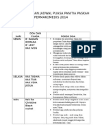 Pokok Doa Dan Jadwal Puasa Panitia Paskah Permakomedis 2014