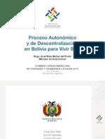 Proceso autonómico y la descentralización en Bolivia para Vivir Bien