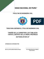 "DISEÑO DE LA CARRETERA LOS TABLAZOSYAPATO, DISTRITO DE LA UNION, PROVINCIA DE PIURA-ETAPA III"""