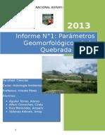 201479603 Informe 1 Parametros Geomorfologicos