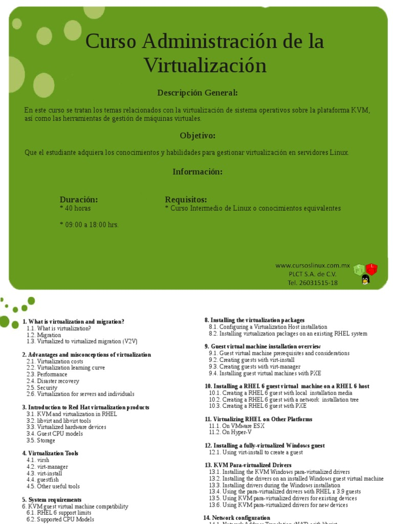 Temario Administracion de La Virtualizacion c9 | Virtual Machine