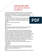 LEGE nr. 315 din 28 iunie 2004 privind dezvoltarea regionala in Romania