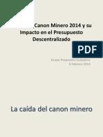 Canon Minero 2014 y Su Impacto en El Presupuesto Descentralizado