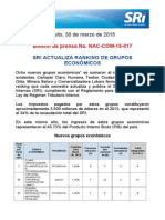 17 SRI ACTUALIZA RANKING DE GRUPOS ECONO´MICOS